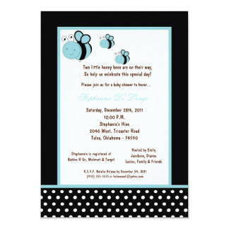 "5x7 Black Honey Bee Baby Shower 5"" X 7"" Invitation Card"