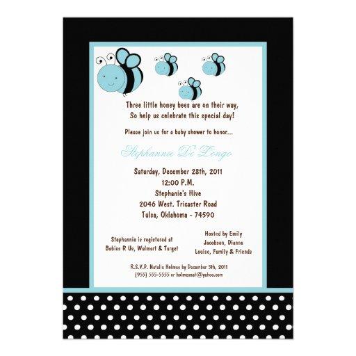 5x7 Black Honey Bee Baby Shower Personalized Invitations