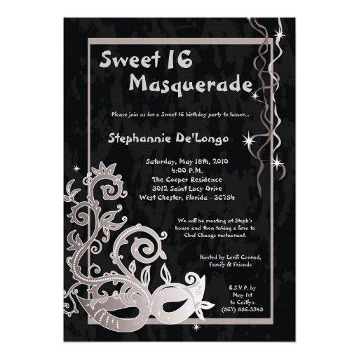 5x7 Black Masquerade Sweet 16 Birthday Invitation