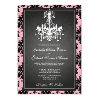 5x7 Black & Pink Chandelier Wedding Invitation