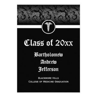 5x7 Black White Caduceus Medical School Graduation Invites