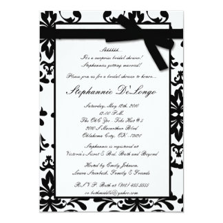 5x7 Black White Damask Bridal Shower Invitation