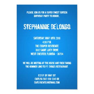 5x7 Blue DJ Spin Turntable 16 Birthday Invitation