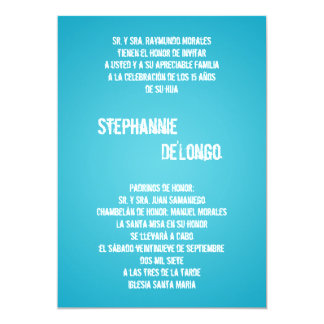 5x7 Blue DJ Spin Turntable Quinceanera Invitation
