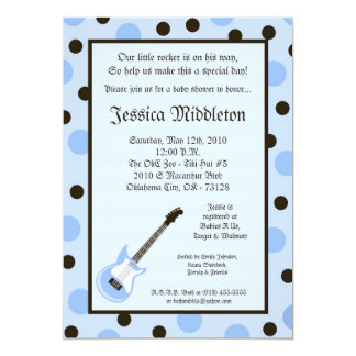 5x7 Boy Blue Rocker Guitar Baby Shower Invitation