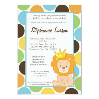 5x7 Boy King of the Jungle Baby Shower Invitation