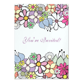 5x7 Bright Blossoms Blank Fill In Invitation
