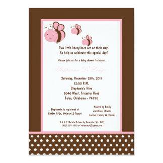 "5x7 Brown Honey Bee Baby Shower 5"" X 7"" Invitation Card"