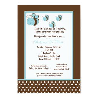 5x7 Brown Honey Bee Baby Shower Invitation