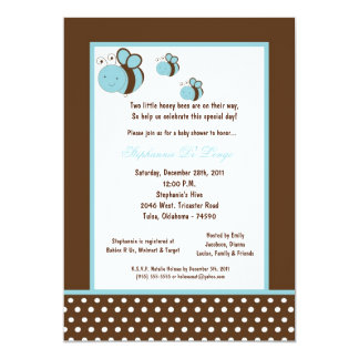 5x7 Brown Honey Bee Baby Shower Personalized Announcements