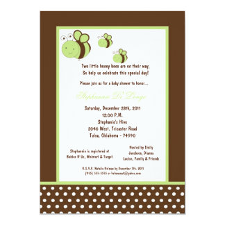 5x7 Brown Honey Bee Baby Shower 5x7 Paper Invitation Card