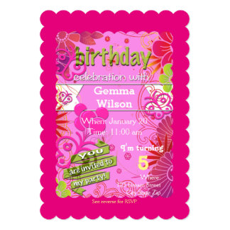 5X7 Butterfly Birthday Invitation