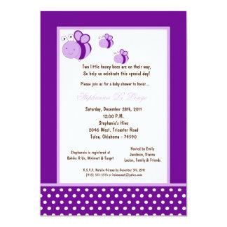 5x7 Dark Purple Honey Bee Baby Shower Announcement