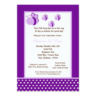 5x7 Dark Purple Honey Bee Baby Shower Personalized Announcements