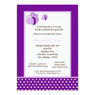 "5x7 Dark Purple Honey Bee Baby Shower 5"" X 7"" Invitation Card"