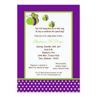 5x7 Dark Purple Honey Bee Baby Shower 5x7 Paper Invitation Card