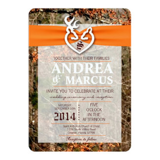 5x7 Deer Couple Doe Buck Camo Wedding Invitation