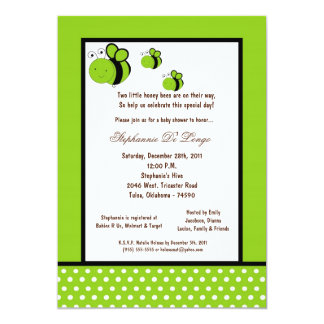 """5x7 Electric Green Honey Bee Baby Shower 5"""" X 7"""" Invitation Card"""