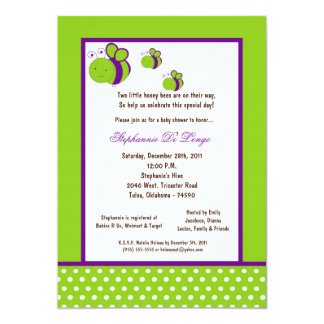 5x7 Electric Green Honey Bee Baby Shower 5x7 Paper Invitation Card