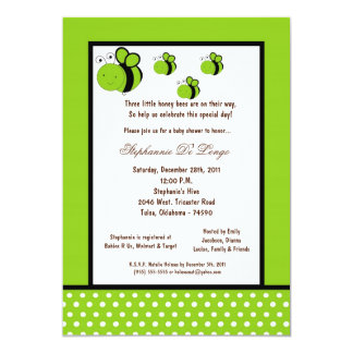 5x7 Electric Green Honey Bee Baby Shower Personalized Announcements