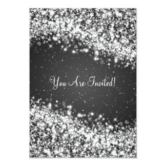 "5x7 Elegant Wedding Sparkling Wave Black 5"" X 7"" Invitation Card"