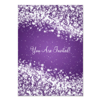 "5x7 Elegant Wedding Sparkling Wave Purple 5"" X 7"" Invitation Card"