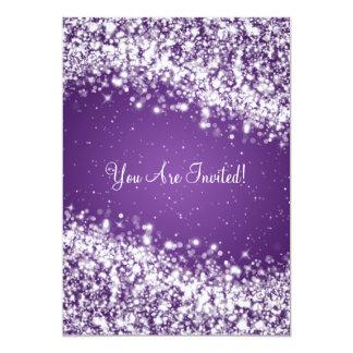 5x7 Elegant Wedding Sparkling Wave Purple Card