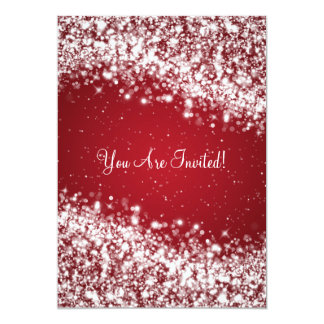 "5x7 Elegant Wedding Sparkling Wave Red 5"" X 7"" Invitation Card"