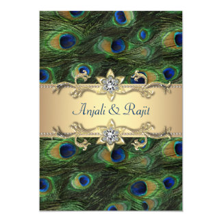 "5x7 Emerald Green Elegant Peacock Wedding 5"" X 7"" Invitation Card"
