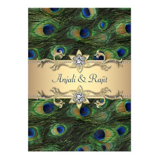 5x7 Emerald Green Elegant Peacock Wedding Announcements
