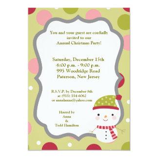 "5x7 Frosty Snowman Polka Dot BG Invitation 5"" X 7"" Invitation Card"