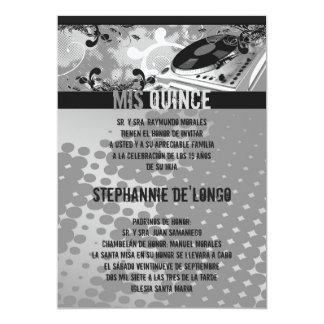 5x7 Gray DJ Spin Turntable Quinceanera Invitation