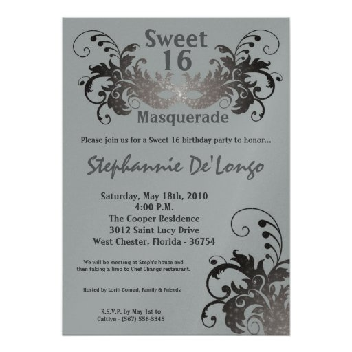 5x7 Gray Masquerade Sweet 16 Birthday Invitation