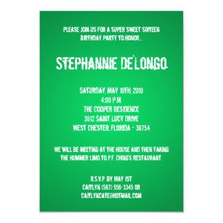 5x7 Green DJ Spin Turntable 16 Birthday Invitation