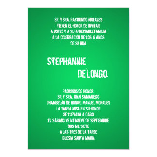 5x7 Green DJ Spin Turntable Quinceanera Invitation