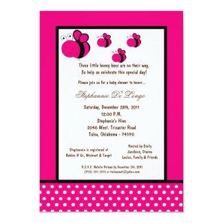 5x7 Hot Pink Honey Bee Baby Shower Custom Invites
