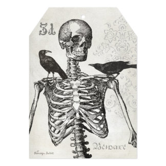5x7 Invitation Tag for Halloween, skeleton & crows