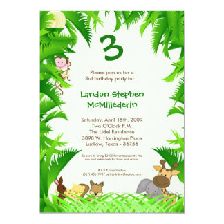 5x7 Jungle Safari Zoo Birthday Party Invitation