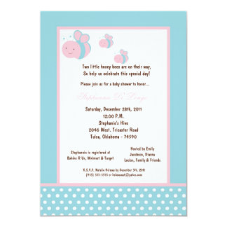 5x7 Light Blue Honey Bee Baby Shower Invitations