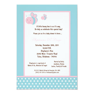 "5x7 Light Blue Honey Bee Baby Shower 5"" X 7"" Invitation Card"