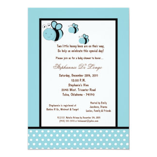 5x7 Light Blue Honey Bee Baby Shower Personalized Announcement