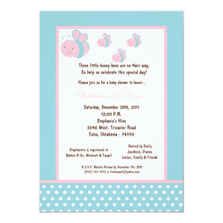 5x7 Light Blue Honey Bee Baby Shower Personalized Invitation