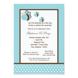 5x7 Light Blue Honey Bee Baby Shower Custom Invite