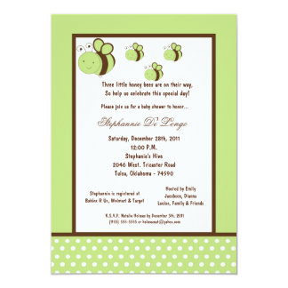 5x7 Light Green Honey Bee Baby Shower Personalized Invites