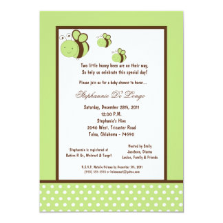 5x7 Light Green Honey Bee Baby Shower Personalized Invitation