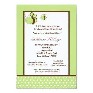 5x7 Light Green Honey Bee Baby Shower Custom Invite
