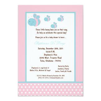 5x7 Light Pink Honey Bee Baby Shower Invitations