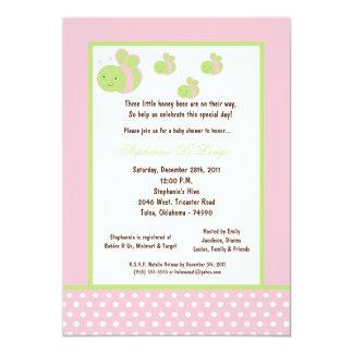 5x7 Light Pink Honey Bee Baby Shower Custom Announcement