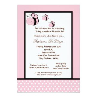 5x7 Light Pink Honey Bee Baby Shower Custom Invitations