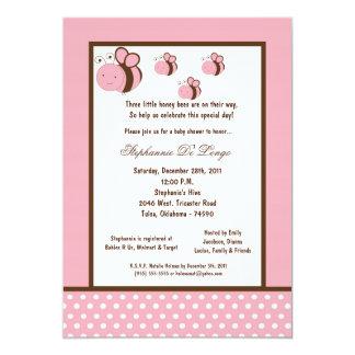 5x7 Light Pink Honey Bee Baby Shower 5x7 Paper Invitation Card